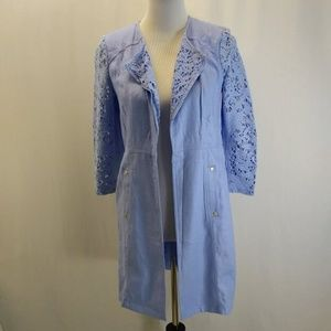 Chicos Size 00 XS Duster Jacket Baby Blue Linen